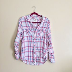 Abercombie and Fitch Pastel Pink Blue Flannel